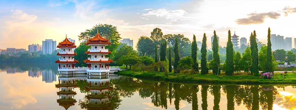 View of Singapore Chinese Garden's Pagoda from Jurong Lakeside Gardens