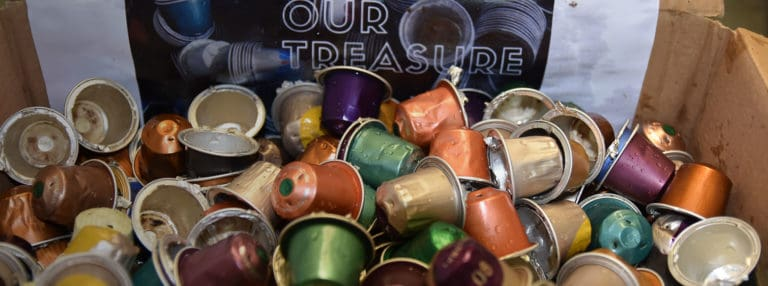 ISD students help with a creative solution for used coffee pods