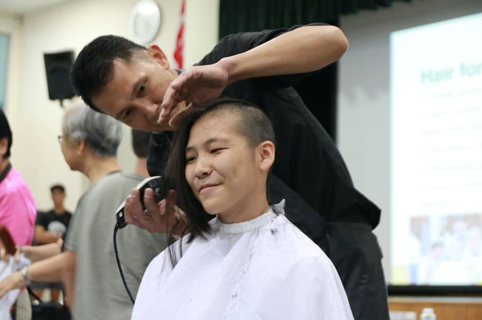 Jiayi shaved her head for Hair for Hope, an annual opportunity for SJI International students to raise funds to support the Children's Cancer Foundation.