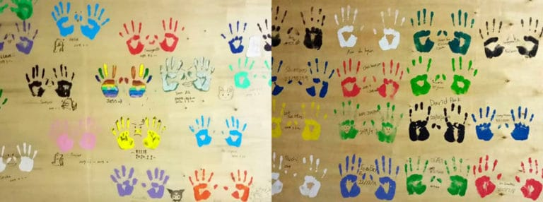 Activities at the Maple Leaf Kingsley Residential Hall - Palm Printing by Boarders (Part 1)